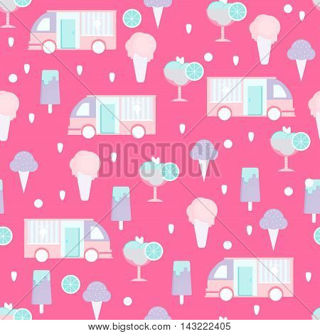 Ice cream seamless pattern in flat style. Background with eskimo ice cream cone sorbet and ice cream van. Vector illustration for print textile wallpaper and menu.