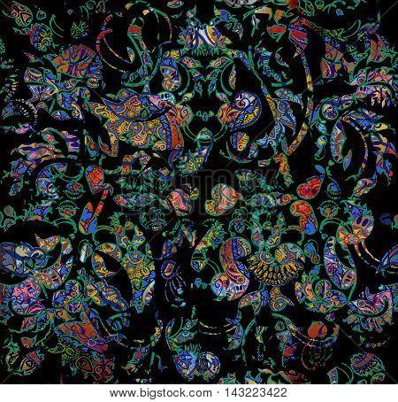 dark exotic floral shabby oriental pattern motley