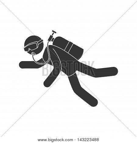 dive extreme sport ocean sea snorkel oxygen vector illustration