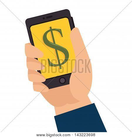 money smartphone pay technology transaction phone vector illustration
