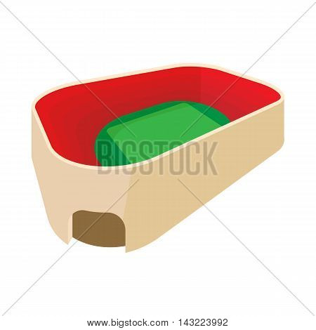 Stadium with green field icon in cartoon style isolated on white background. Sport symbol