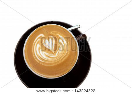 Latte coffee and latte art on white background