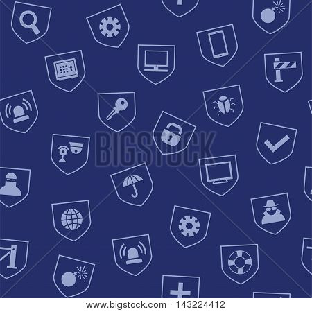 Safety, seamless pattern, blue. Vector colored background with images of protection and security of people, information and gadgets. Blue icons on a dark blue background.