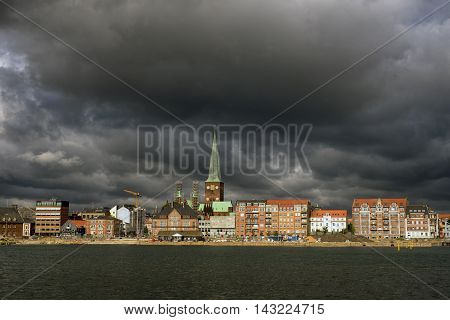 AARHUS DENMARK - AUGUST 14 2016: Aarhus skyline with Cathedral and new buildings close to harbor August 14 2016.