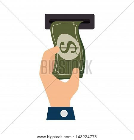 bill money cash economy financial fortune rich withdraw atm  hand bank vector illustration