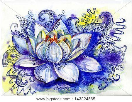beautiful watercolor flower lotus with zentangl elements