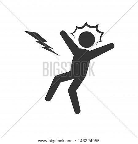 electrocution man voltage shock thunderbolt vector illustration