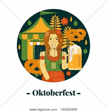 Oktoberfest banner in flat style. Vector illustration for october festival with beer pretzel tent and waitress.
