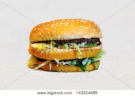 Double Burger with juicy meatballs. Hamburger, unhealthy eating fast food. High-calorie foods promotes obesity.