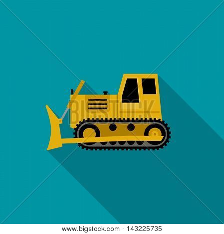 Dozer simple illustration flat style. Vector icon of building machinery with long shadow.