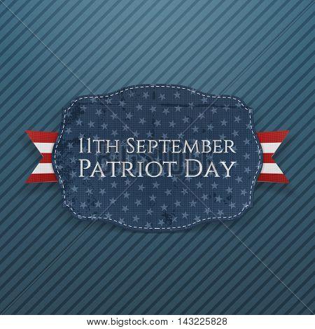 Patriot Day - 11th September Emblem with Ribbon. Vector Illustration