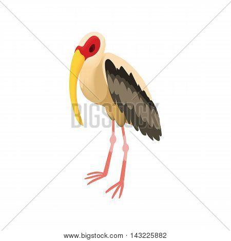 Stork icon in cartoon style isolated on white background. Migratory bird symbol