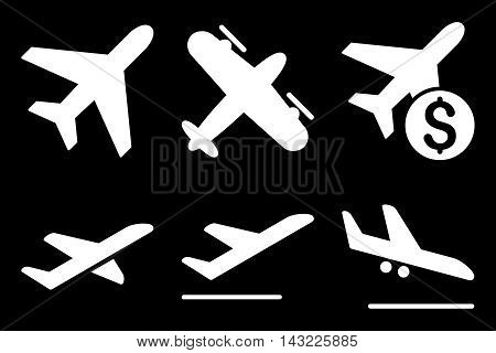 Aviation vector icons. Pictogram style is white flat icons with rounded angles on a black background.