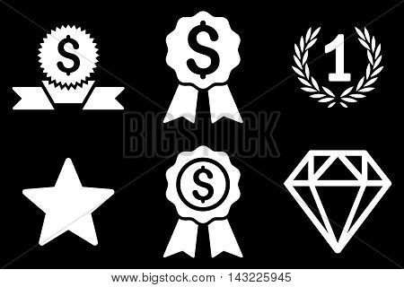 Award vector icons. Pictogram style is white flat icons with rounded angles on a black background.