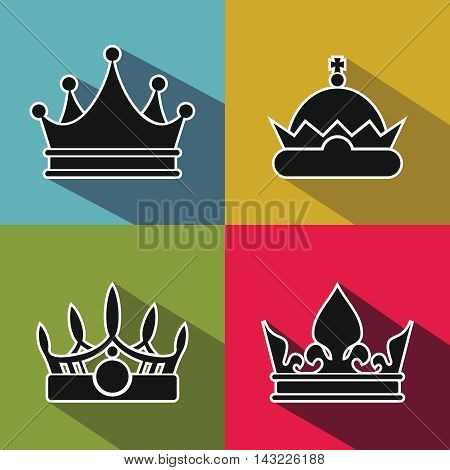 Black crown icons with long shadow on color background. King and prince, royal crown element, vector illustration