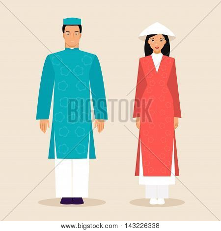 Man and woman in traditional costumes of Vietnam. Vector illustration flat style