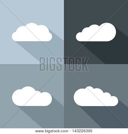 White cloud icons with long shadow. Flat cloud for emblem weather. Vector illustration