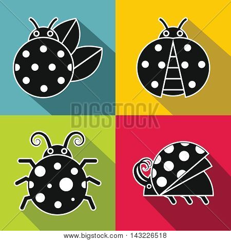 Black ladybug with white stroke on color background. Set of insects in monochrome style. Vector illustration