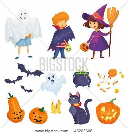 kids in halloween costumes vector illustration. witch, vampire and ghost characters. big set for halloween party.