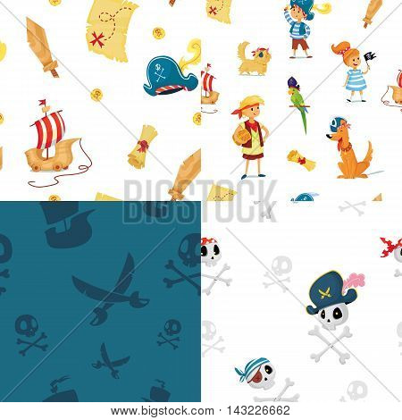 set of seamless patterns. pirate party vector illustration. kids and animals dressed like pirates.