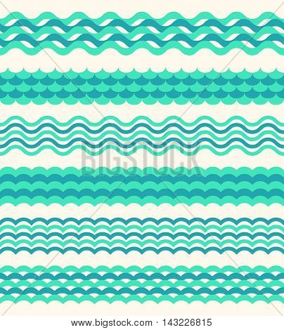Set of sea waves borders isolated on white background. Marine water wave, vector illustration
