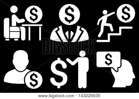 Businessman vector icons. Pictogram style is white flat icons with rounded angles on a black background.