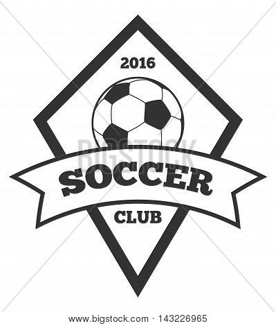 Vector soccer logo template, emblem in black isolated over white. Ball on sport logo illustration