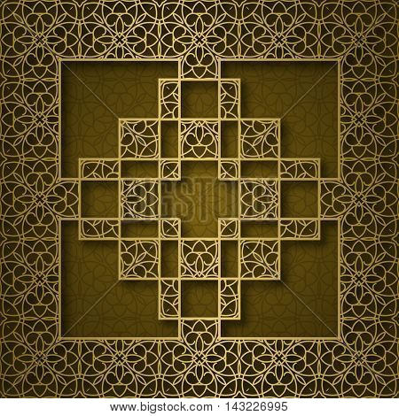 Traditional ornamental background with square cruciform frame
