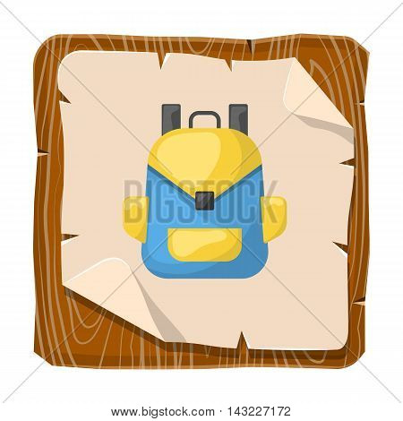 Backpack colorful icon. Vector illustration in cartoon style