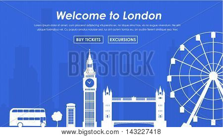 Banner Welcome to London. Header Template London landmarks on a blue background. Vector illustration