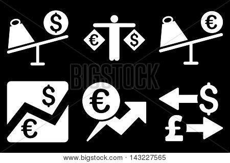 Currency Trading vector icons. Pictogram style is white flat icons with rounded angles on a black background.