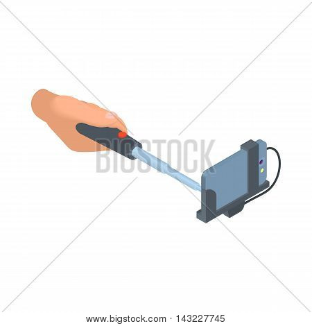 Male hand holding selfie stick with cellular phone icon in cartoon style isolated on white background. Device symbol