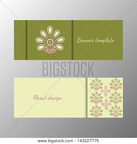 Floral pattern green horizontal banner collection. Vector illustration