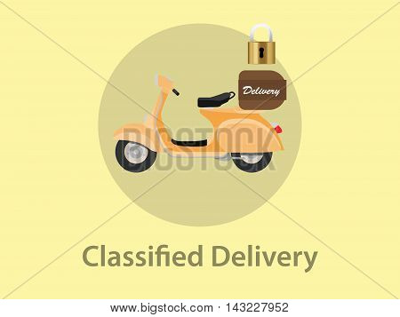 classified delivery illustration with motor bike and padlock as sign symbol