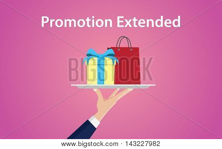 promotion extended illustration with hand give a plate with shopping bag and gift box