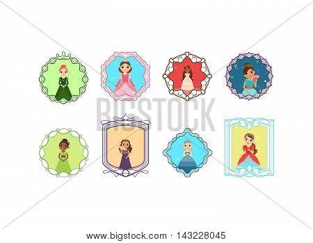 Cartoon princess set with decorative frames. Vector illustration