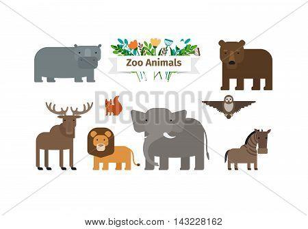 Zoo Animals Flat Design Vector Icons Set