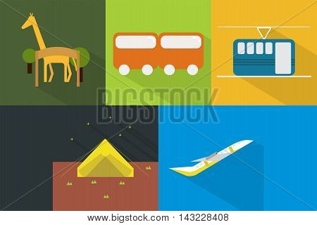 Set of great flat icons with style long shadow icon and use for travel, holiday , tour and much more.