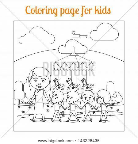 Coloring book page for kids with amusement park. vector illustration
