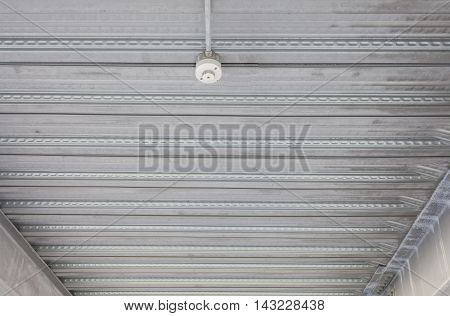 Corrugated steel roof Metal roof Grey steel roof pattern and background