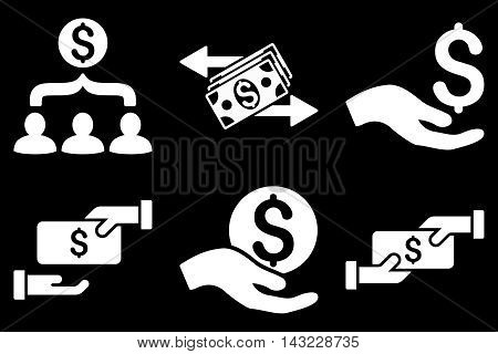 Payment vector icons. Pictogram style is white flat icons with rounded angles on a black background.