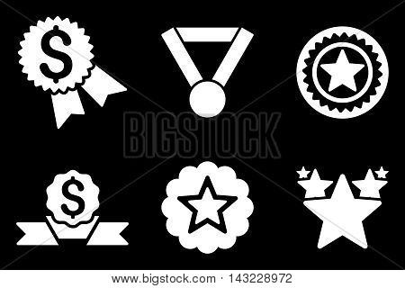 Reward vector icons. Pictogram style is white flat icons with rounded angles on a black background.