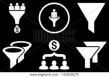 Sales Filter vector icons. Pictogram style is white flat icons with rounded angles on a black background.