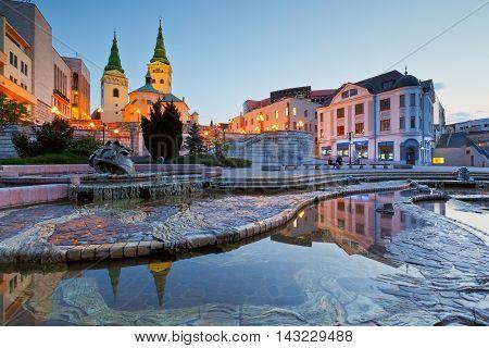 ZILINA, SLOVAKIA - MAY 20, 2016: Main square in the city of Zilina in central Slovakia on May 20, 2016.