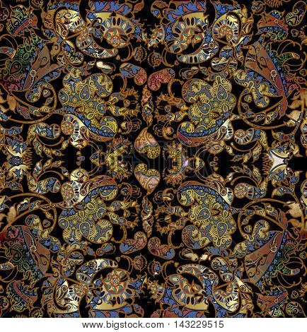 floral shabby oriental pattern golden and black