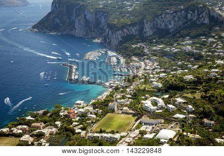 Aerial photo of Marina Grande on Capri island Campania Italy