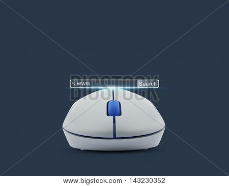 Wireless computer mouse with search www button over blue background Searching system and internet concept