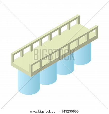 Concrete bridge icon in cartoon style isolated on white background. Architecture symbol