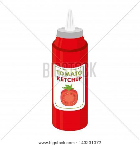 ketchup tomato bottle sauce flavor food traditional vector illustration