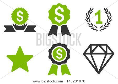 Award vector icons. Pictogram style is bicolor eco green and gray flat icons with rounded angles on a white background.